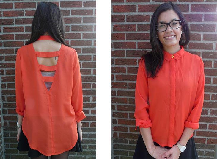Melanie Caged Back Long Sleeve Shirt, 5 Euro