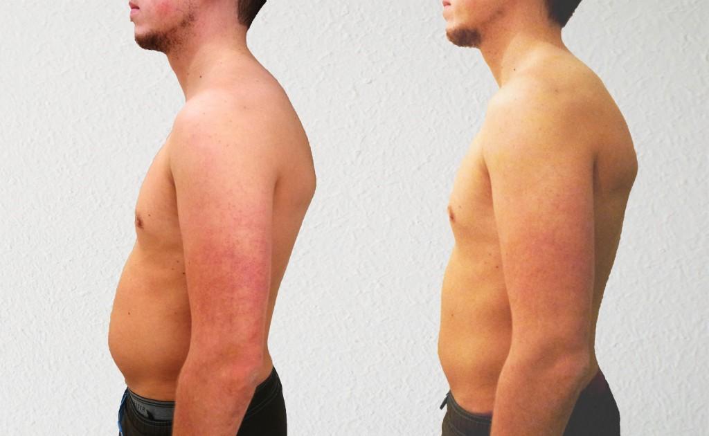 Vergelijking start tot WEEK 3: 74,8kg [-3,2kg] 14,9% vet [-4,1%] Taille 89cm [-9cm]
